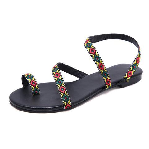 Flat Sandals Gladiator Bohemia Beach Slippers  Sandals
