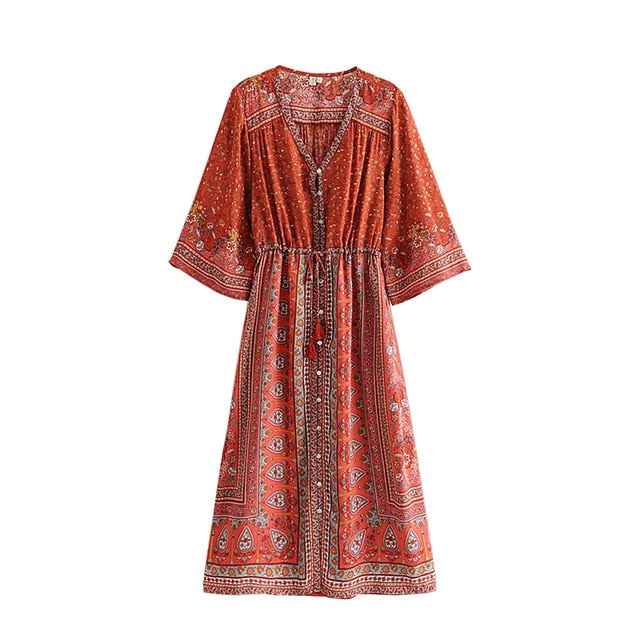 Boho Chic Vintage Floral Print Pleated Kimono Sleeve Lace Up Tassel Dresses