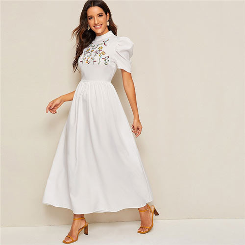 Mock Neck Flower Embroidered Puff Sleeve Maxi Dress