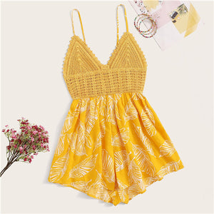 Yellow Crochet Bodice Knot Back Plants Print Cami Boho Cute Jumpsuit Boho Cute