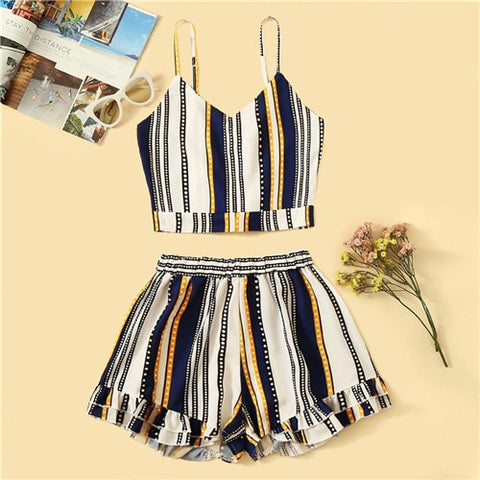 \Striped Back Tied Knot Cami Top With Wide Leg Shorts Woman Sets