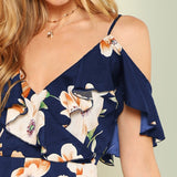 Navy Flounce Cold Shoulder Ruffle Hem Floral Print Boho Dress
