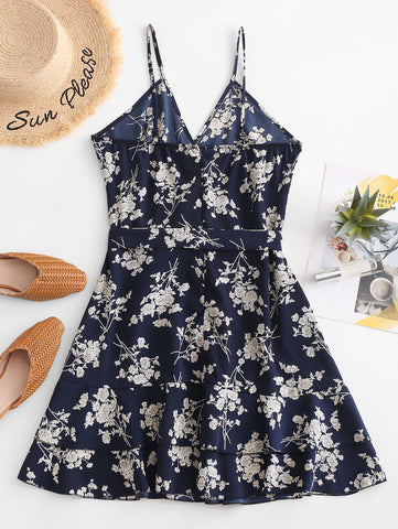 Surplice Mini Floral Flounce Dress Spaghetti Strap Sleeveless Mini Dress