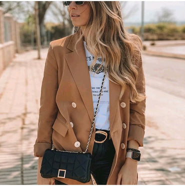 Casual Khaki Solid Office Lady Blazer