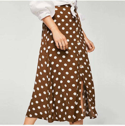 High Waist Split Vintage Midi Skirt