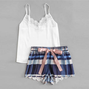 Lace Sleeveless Sling and Shorts Stripe Sleepwear Pajama Set