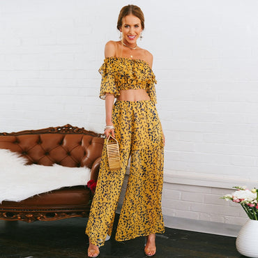 2 Pieces Suits Sets Leaves Pattern Off Shoulder Crop Tops With Flare Long Ruffle Pants