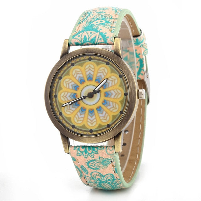 Fashion Flowers Belt Watch Bohemian Quartz  Watch