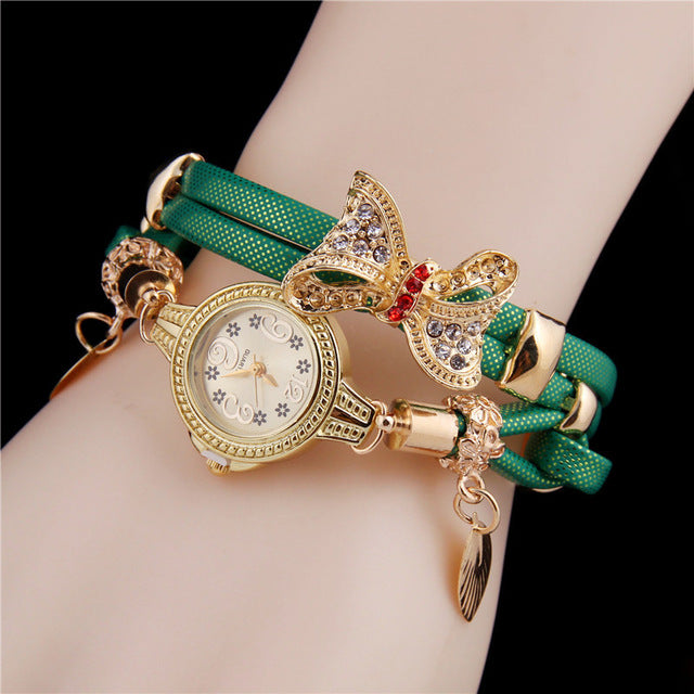 Fashion Butterfly Pearl Pendant Ladies Watch