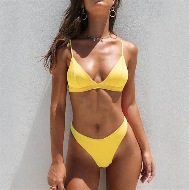 Sexy Triangle Solid Bathing Suit Swimwear Summer Beach Wear Bikini Set