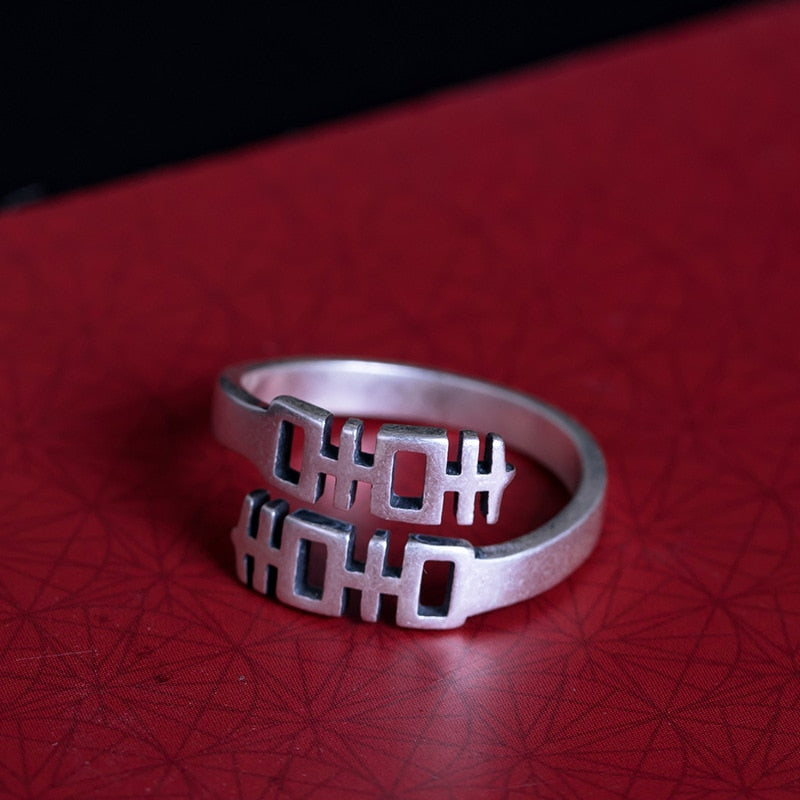 Retro Chinese Characters Festive Meaning Open Ring