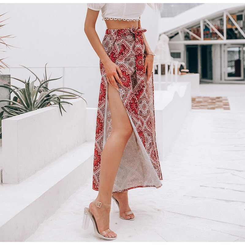 Floral print boho High waist summer wide leg pants