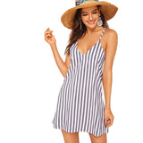 Blue Spaghetti Strap Striped Cami Shift Cami Boho Dress