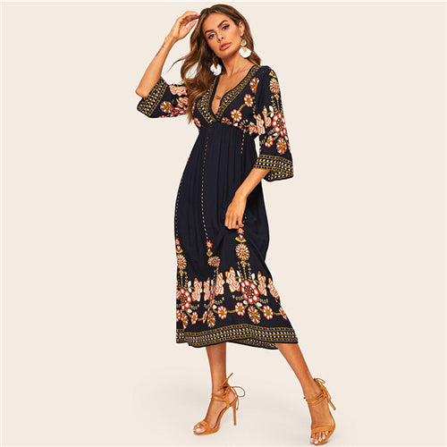 Floral Print Boho 3/4 Sleeve A Line High Waist Dress
