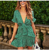 Sexy Polka Dot Wrap Summer Short Sleeve Self-tie Knot Casual Mini Dress