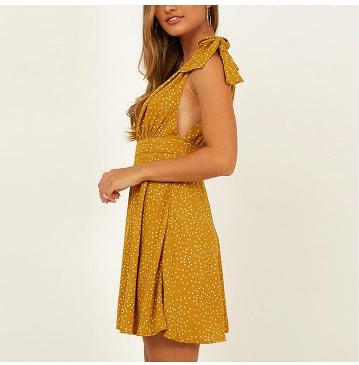 Casual Yellow Polka Dot Backless Sexy Mini Wrap Chiffon Dress