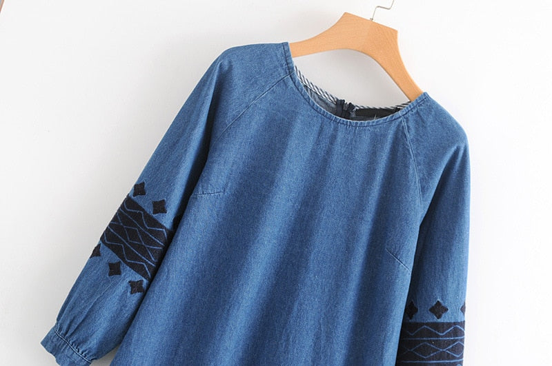 Vintage Blue Denim Dress Female Geometric Embroidery Long Sleeve Casual Autumn Dress