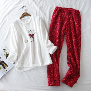 Coral Velvet Super Soft Embroidered Dog Sleepwear