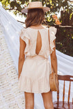Ruffles Striped Waist Belt Tied Backless Sleeveless Ladies Elegant Dress