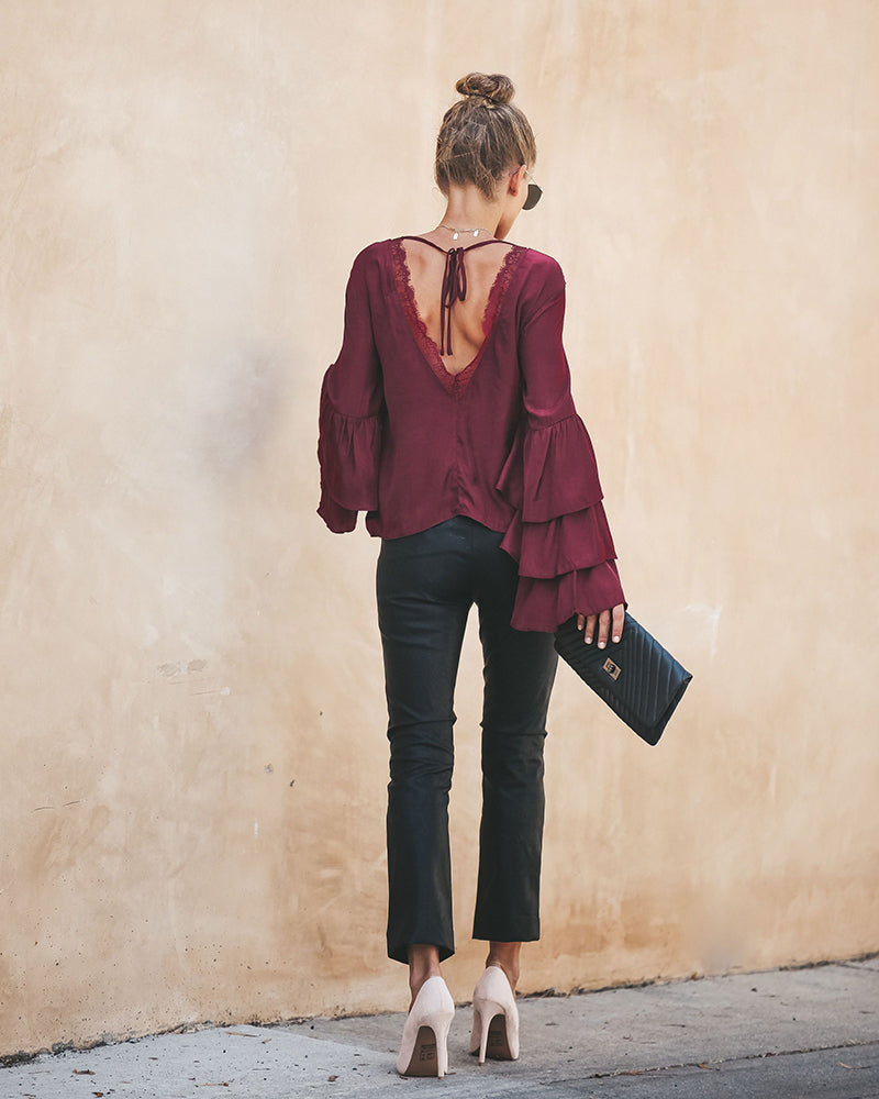 Lace Patchwork Backless Ruffles Blouse Tops