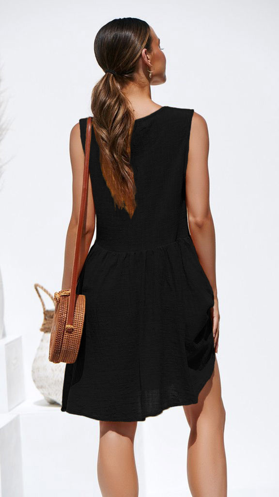 Solid Cotton Sleeveless O Neck Empire Casual Dress