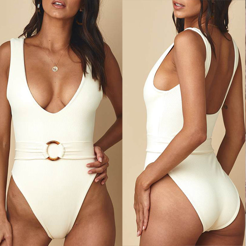 V-neck women bathing suit Belt sexy female swimsuit one piece bodysuits Monokini