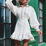 Elegant ruffle lace cotton Vintage lantern sleeve hollow out Short dress