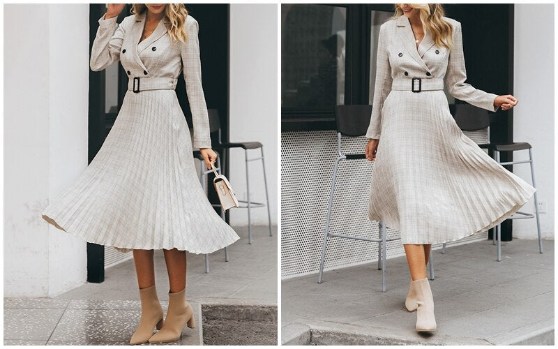 Elegant button belt Plaid blazer dress pleated office ladies dress
