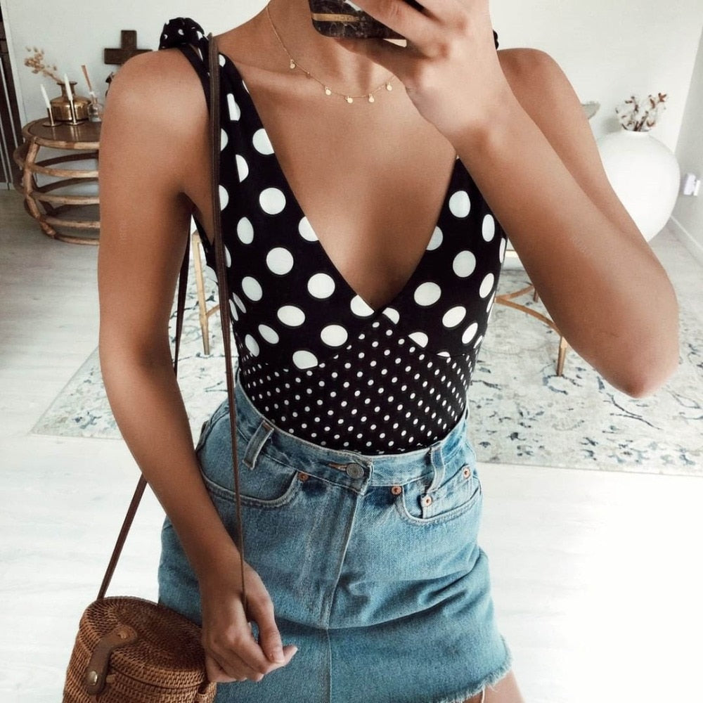 Retro Dot Printed Push Up V Neck Sexy Monobikin
