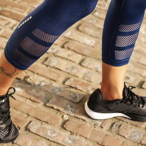 Reflective Navy Mesh Sport Leggings Yoga Fitness Gym Legging