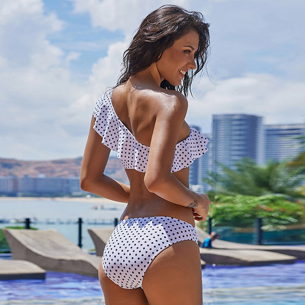 Printed Wave Point One Shoulder Lotus Leaf Swimsuit Bikini Set