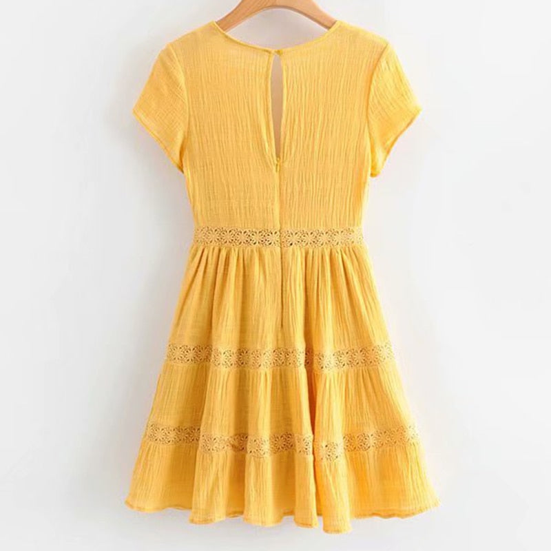 Sexy Lace Trims Yellow Sweet Lady Short Sleeve V Neck A-line Mini Summer Dress