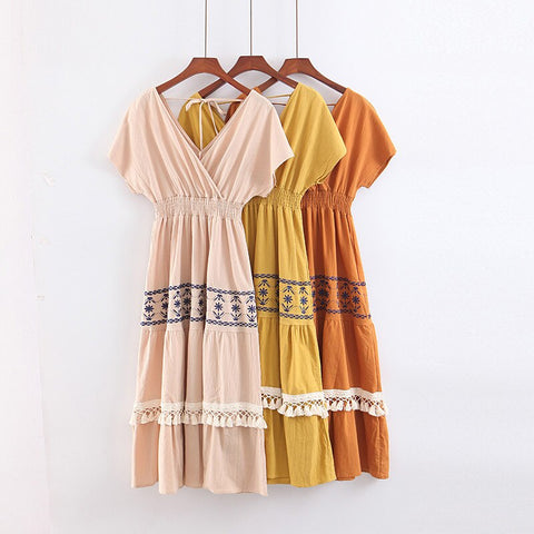Tassel Embroidered Short Sleeve V neck Sexy Boho Hippie Loose Dress