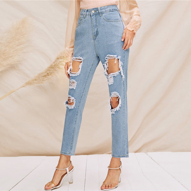 Blue Solid Destroyed Ripped Detail High Waist Zipper Tapered Carrot Jeans