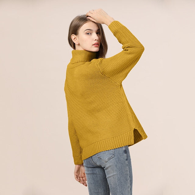 Casual Loose Autumn Winter Turtleneck Oversize Solid Knitted Sweater