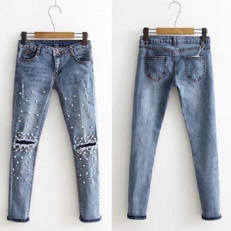 Slim Fit Hips Thin Mid-rise Beaded Hole Fashion Joker Light Jeans