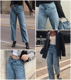 Casual high waist Light blue buttons loose streetwear denim jeans