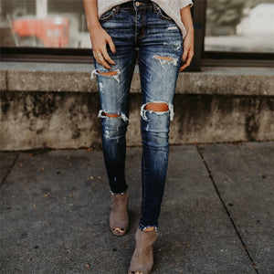 Hole Ripped High Waist Slim  Boyfriend Style Pencil Denim Vintage Skinny Jean