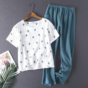 Cotton Crepe Yarn Short-sleeved Long Pants Sleepwear