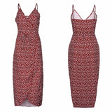 Vintage Sexy Bohemian Floral Tunic Pocket Red Pink Black Dress Female Sling