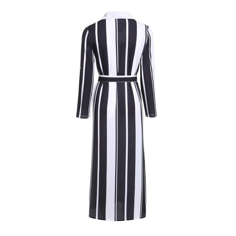 Office Lady Turn-Down Collar Button Stripe Maxi Dress