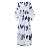 Floral Print Dress Bohemian  Vintage V Neck Flare Sleeve Maxi Long Dress