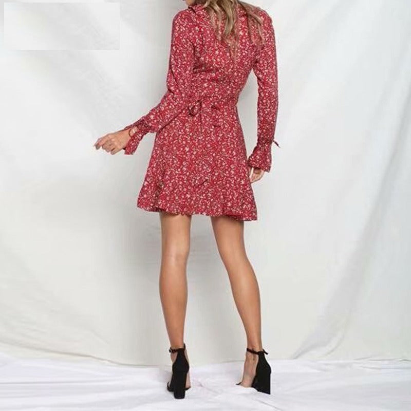 red sexy ruffles dress long sleeve floral print casual boho dress