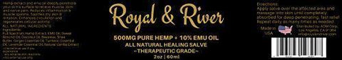 Hemp Pain Cream Salve - 500mg Hemp Extract and 10% Emu Oil - Fast Muscle and Joint Pain Relief. 2oz