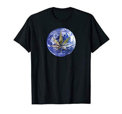 Pot Leaf T Shirt Planet Earth CBD Shirt Stoner Tee