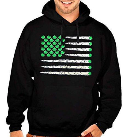 Weed Flag USA Flag Men's Pullover Hoodie Black S-5XL (S, Black)