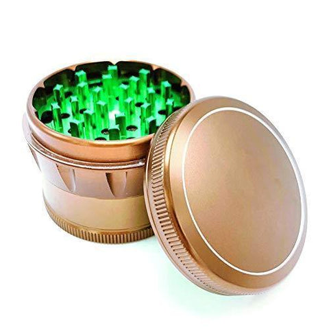 Topoo 4 Piece 2.4 Inch Tobacco Spice Herb Grinder with Pollen Catcher and Scraper - Zinc Aluminum Metals with Magnetic Lid (Anodized Brown Color)