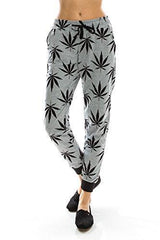 Women's Marijuana Weed Leaf Print Jacket Long Sleeve Hooded Sweatshirt (Gray Long Pants, S)