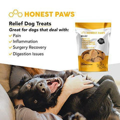 Honest Paws ALL NEW Relief Formula | Premium Hemp Dog Treats - Hip, Joint, and Pain Relief Supplement for Dogs - Made with 100% All Natural Pure Hemp Oil with Organic Turmeric - Peanut Butter Flavor