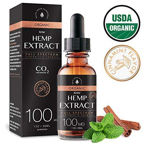USDA Organic Hemp Oil Extract for Pain & Stress Relief (100MG), Cinnamint Flavor, Full Spectrum, Blended with Organic Hemp Seed Oil for Optimal Absorption, CO2 Cold Extracted, Kosher, Vegan, GF, 1oz.